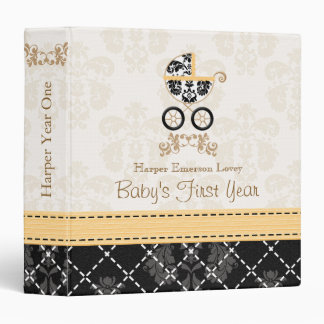 Yellow and Black DAMASK Carriage Baby Photo Album 3 Ring Binders