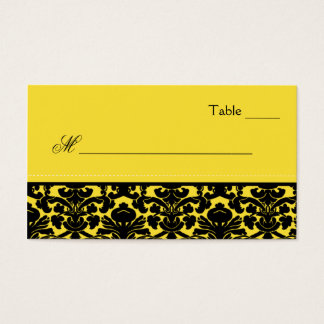 Yellow and Black Damask Place Cards