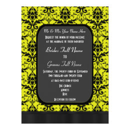 Yellow and black damask wedding card