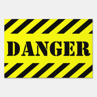 Yellow And Black Danger Halloween Haunted House Yard Sign