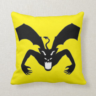 Yellow And Black Devil Throw Pillow