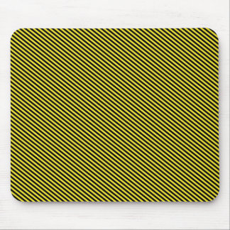 Yellow and Black Diagonal Stripes Mouse Pad