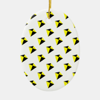 Yellow and Black Diamond Kites Pattern Ceramic Ornament