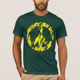 Yellow and Black Distressed Peace Symbol 2 T-Shirt