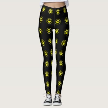 Yellow And Black Dog Paw Pattern Leggings by RainbowChild_Art at Zazzle