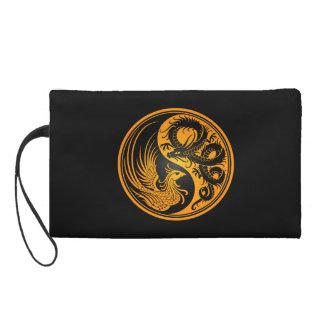 Yellow and Black Dragon Phoenix Yin Yang Wristlet