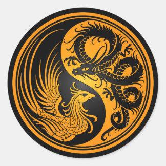 Yellow and Black Dragon Phoenix Yin Yang Classic Round Sticker