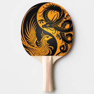 Yellow and Black Dragon Phoenix Yin Yang Ping Pong Paddle