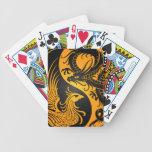 Yellow and Black Dragon Phoenix Yin Yang Bicycle Poker Cards