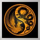 Yellow and Black Dragon Phoenix Yin Yang Poster