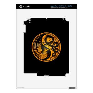 Yellow and Black Dragon Phoenix Yin Yang iPad 3 Decals