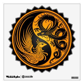 Yellow and Black Dragon Phoenix Yin Yang Wall Decal