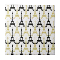 yellow and Black Eiffel Tower Paris Love Ceramic Tile