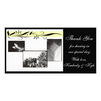 Yellow and black floral Wedding Thank you card Photo Card