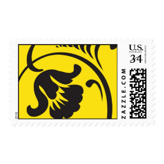 Yellow and Black Flower Postage
