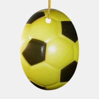 Yellow and black Football. Ceramic Ornament