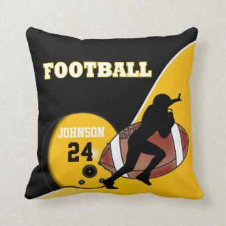 Yellow and Black Football   DIY Name & Number Throw Pillow