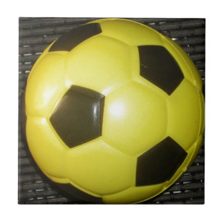 Yellow and black Football. Small Square Tile