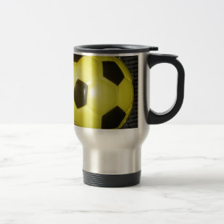 Yellow and black Football. Travel Mug