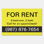Yellow and Black For Rent Real Estate Yard Sign