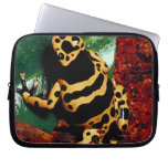 Yellow and Black Frog Laptop Sleeve