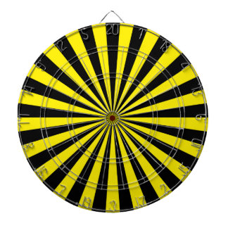 Yellow and Black Funky Sun Rays Retro Stripes Dartboard With Darts