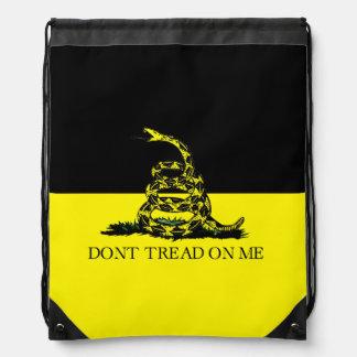 Yellow and Black Gadsden Flag Drawstring Backpack