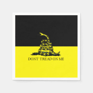 Yellow and Black Gadsden Flag Paper Napkin
