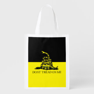 Yellow and Black Gadsden Flag Reusable Grocery Bag