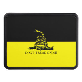 Yellow and Black Gadsden Flag Trailer Hitch Cover