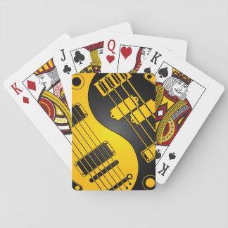 Yellow and Black Guitar and Bass Yin Yang Poker Cards
