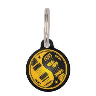 Yellow and Black Guitar and Bass Yin Yang Pet Name Tag