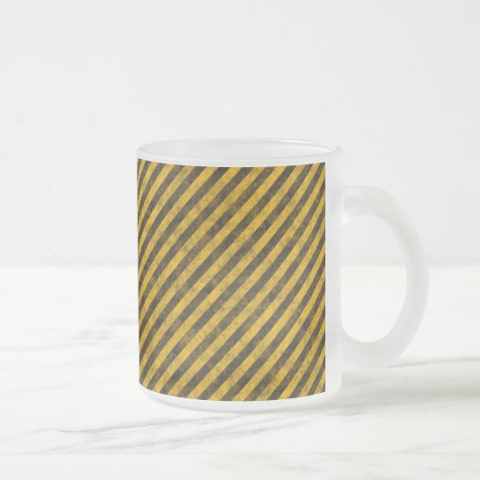 Yellow and Black Hazard Stripes Texture Frosted Glass Coffee Mug