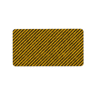 Yellow and Black Hazard Stripes Texture Label