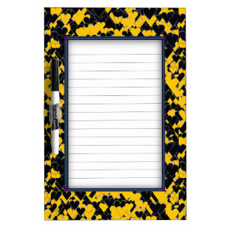 Yellow and Black Hearts Dry-Erase Board