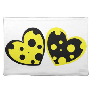 Yellow And Black Hearts Placemat