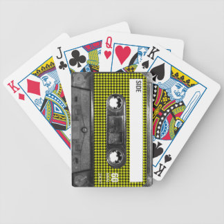 Yellow and Black Houndstooth Label Cassette Bicycle Playing Cards