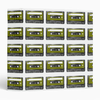 Yellow and Black Houndstooth Label Cassette 3 Ring Binder