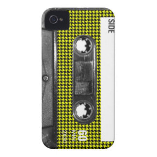 Yellow and Black Houndstooth Label Cassette iPhone 4 Case