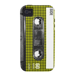 Yellow and Black Houndstooth Label Cassette Case-Mate iPhone 4 Cases
