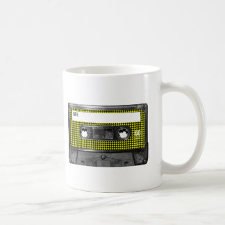 Yellow and Black Houndstooth Label Cassette Coffee Mug