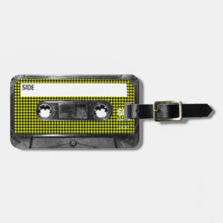 Yellow and Black Houndstooth Label Cassette Bag Tags