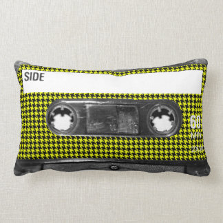 Yellow and Black Houndstooth Label Cassette Pillow
