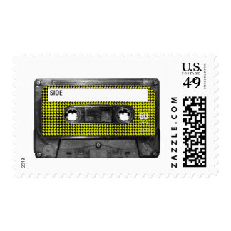 Yellow and Black Houndstooth Label Cassette Postage