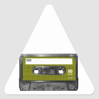 Yellow and Black Houndstooth Label Cassette Triangle Sticker