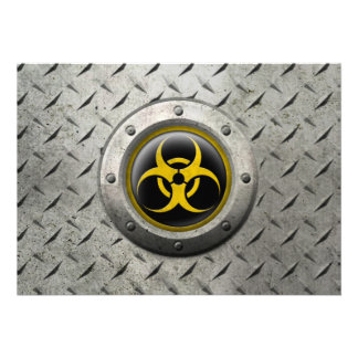 Yellow and Black Industrial Biohazard Steel Effect Personalized Invitation