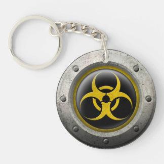 Yellow and Black Industrial Biohazard Steel Effect Keychain