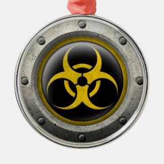 Yellow and Black Industrial Biohazard Steel Effect Ornament