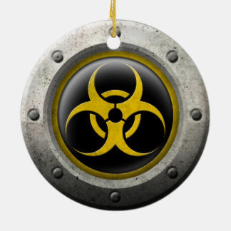 Yellow and Black Industrial Biohazard Steel Effect Christmas Tree Ornaments