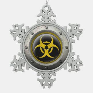 Yellow and Black Industrial Biohazard Steel Effect Ornaments